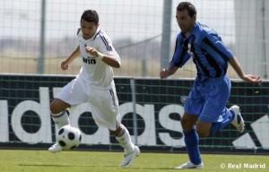 Salinas con el Madrid en el partido de liga frente al Parla