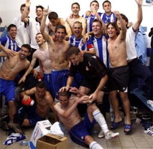 Los jugadores del Español celebrando el titulo de liga