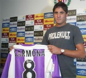 Carlos Carmona, en su presentación con el Real Valladolid en 2005