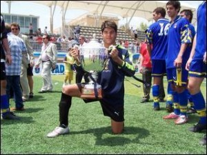 Jesús Sastre con el trofeo de Campeón de España Juvenil