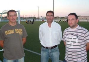 Los presidentes Joan Nicolau, Joan Antoni Payeras y Antoni Grimalt en Es Revolt.  Foto: B.G