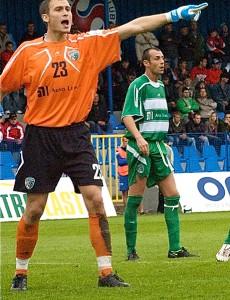 Juan Carlos Pozo en su debut con el Tatran Presov.