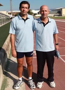 Fornes y Guerrero el sábado en las pruebas físicas antes de salir hacia Madrid.
