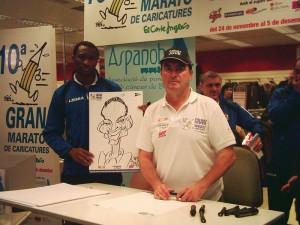Bibi con el At. Baleares en la Maraton de Caricaturas