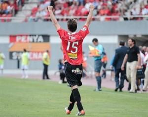 Tuni celebrando su gol al Xerez en el primer partido de Liga 09/10