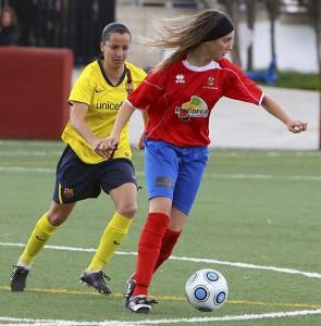 Virginia Torrecillas en un partido contra el Barça